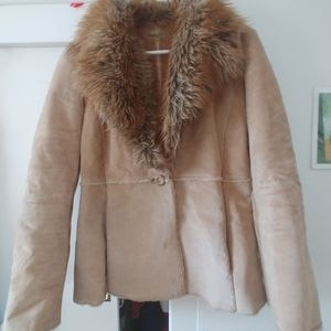 Guess leather coat with faux fur lining
